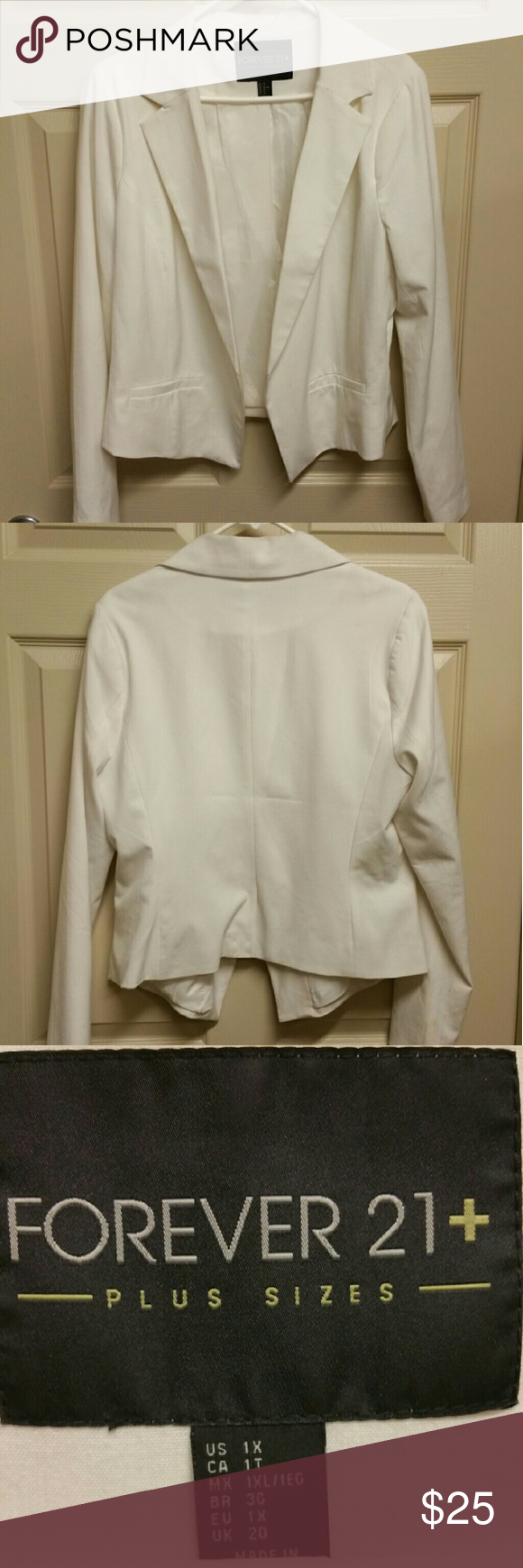 Forever 21 Cream Blazer Great layering piece. Great quality. Business or night wear! Forever 21 Jackets & Coats Blazers