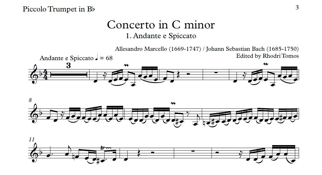 All Music Chords haydn trumpet concerto sheet music : Marcello / Bach BWV974 Concerto In C Minor. Accompaniment Mp3 ...
