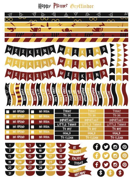 Harry Potter Gryffindor House  Printable Stickers   Pdf  Instant