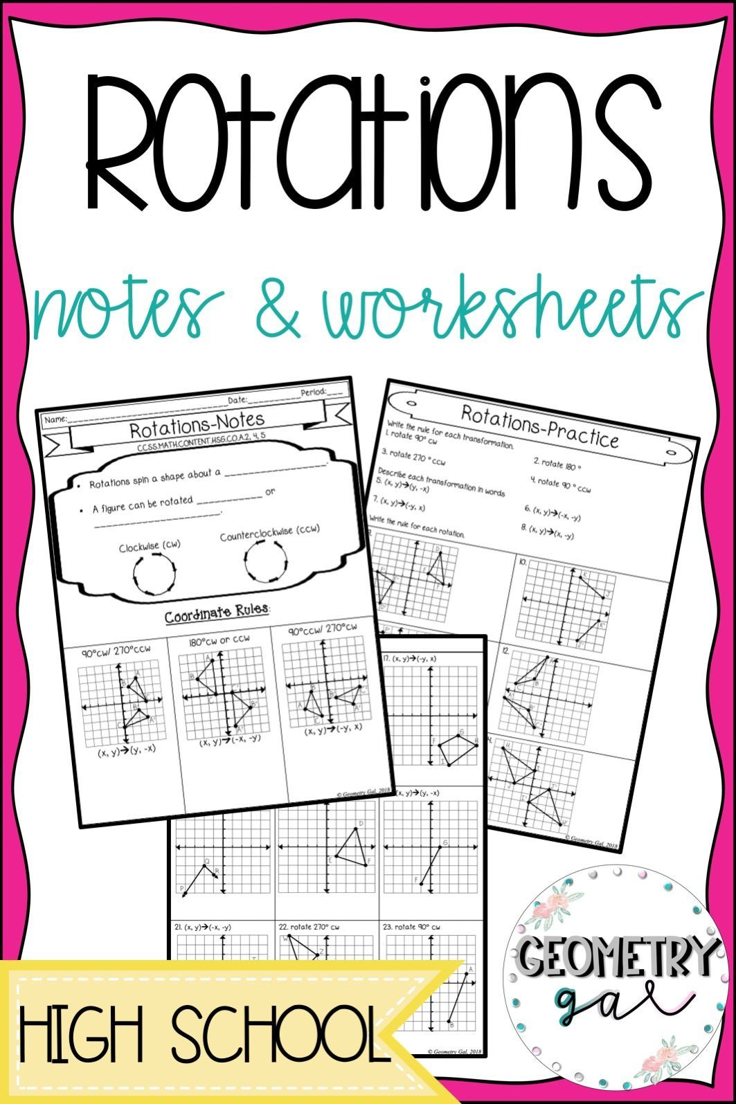 Rotation Guided Notes And Worksheet