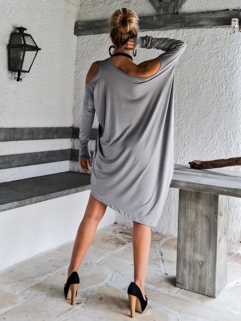 Light Gray Asymmetric Dress - Blouse - Tunic / Plu