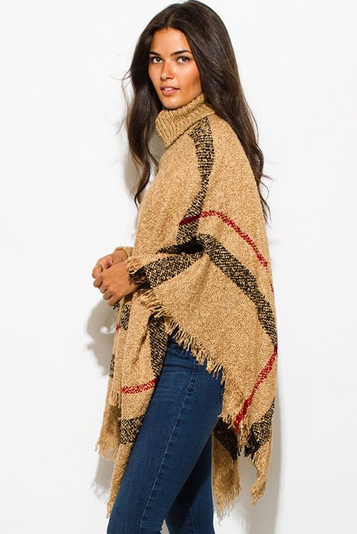Cute cheap camel beige giant checker plaid fuzzy boho knit poncho ...