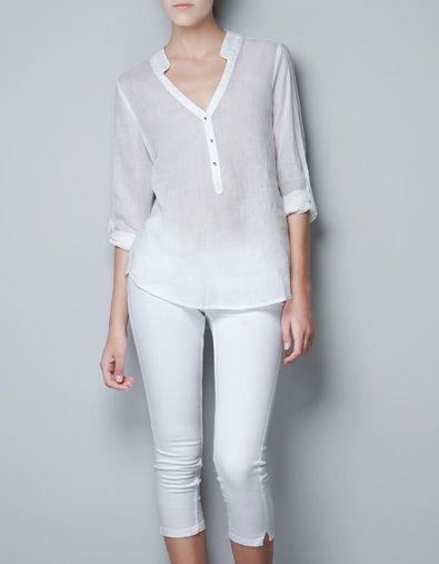 d30856fd4 BLUSA BOTONES DORADOS - Camisas - Mujer - ZARA Andorra | blusas en ...