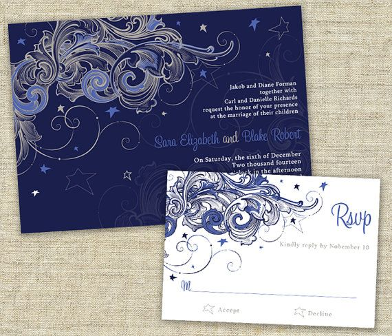 Starry Night Wedding Invitation Sample Set By Designsbyadj On Etsy 3 50 Starry Wedding Starry Night Wedding Nerdy Wedding