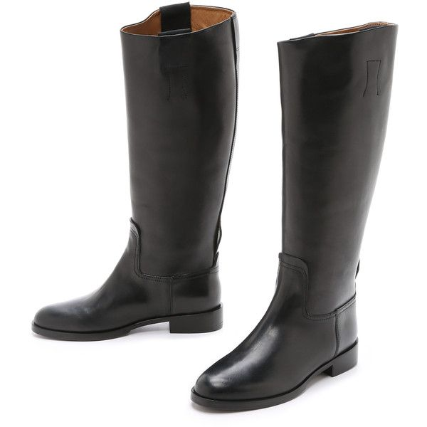 Rag & Bone Holly Riding Boots (£320) ❤ liked on Polyvore featuring shoes, boots, genuine leather riding boots, real leather boots, leather equestrian boots, riding boots and knee length boots