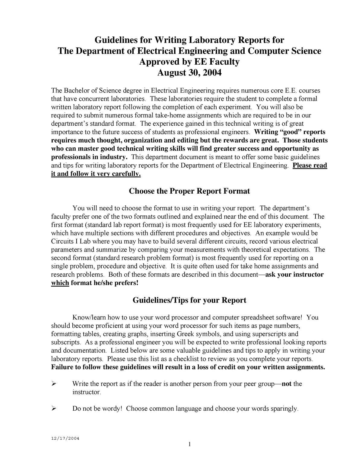 Lab Report Format Ecte290 Uow Studocu With Engineering Lab