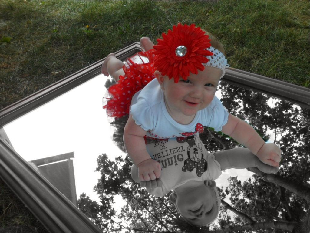 my baby girl in a mirror... black & white inside the mirror and color outside beautiful