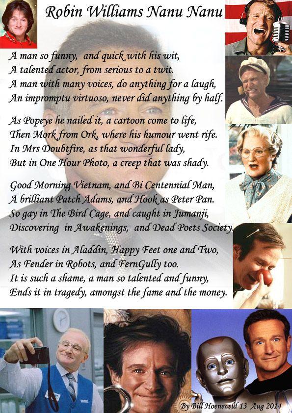 Robin Williams Nanu Nanu Tribute Poems Robin Williams Robin Poems