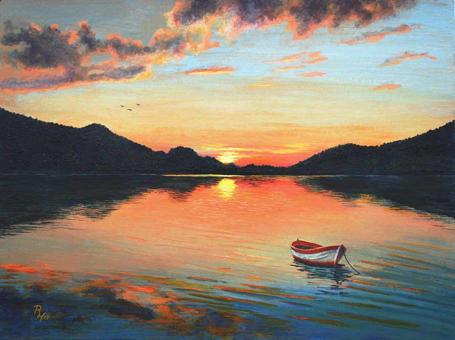Download free stock photos on shotstash. Sunset Over A Mountain Lake Acrylic Painting Sunset Landscape Painting Sunrise Painting Lake Sunset Painting