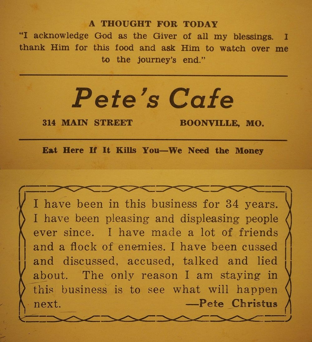 Ca. 1950s business card from the legendary Pete\'s Cafe, stillThe ...
