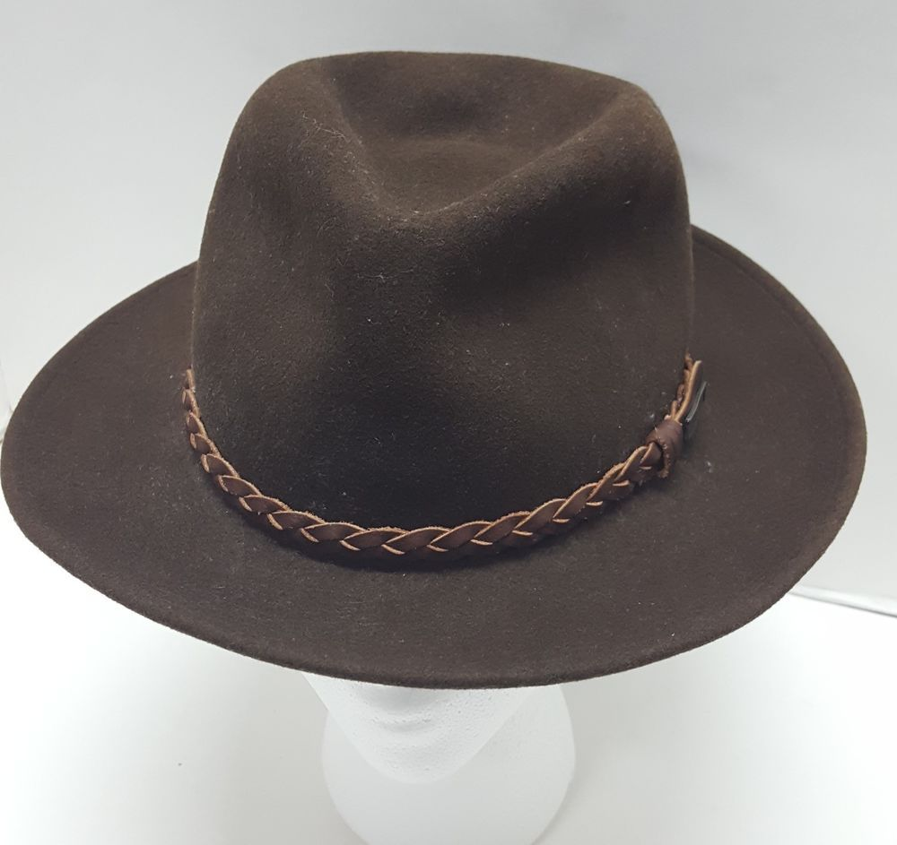 d7f615711 Vintage Eddie Bauer Brown Fedora Hat 100% Wool Made in USA Size ...