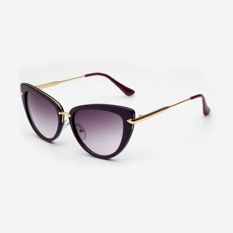 0b408f69f54f3 Womens Cat Eye Sunglasses Acetate and Gold-Plated Titanium Purple Black  Frame