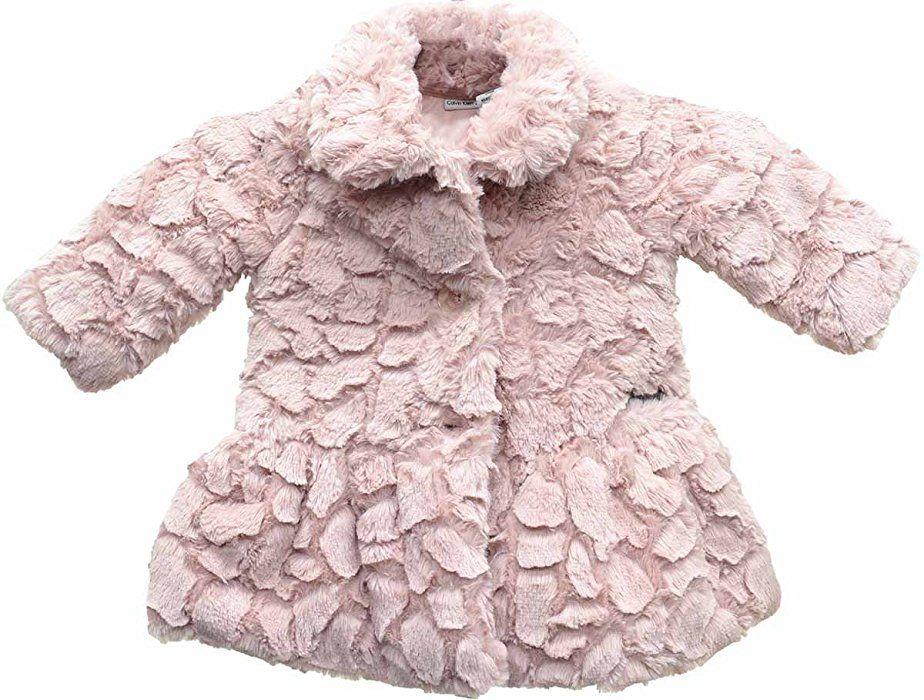 Calvin Klein Baby Girls Faux Fur Peplum Coat 24 Months