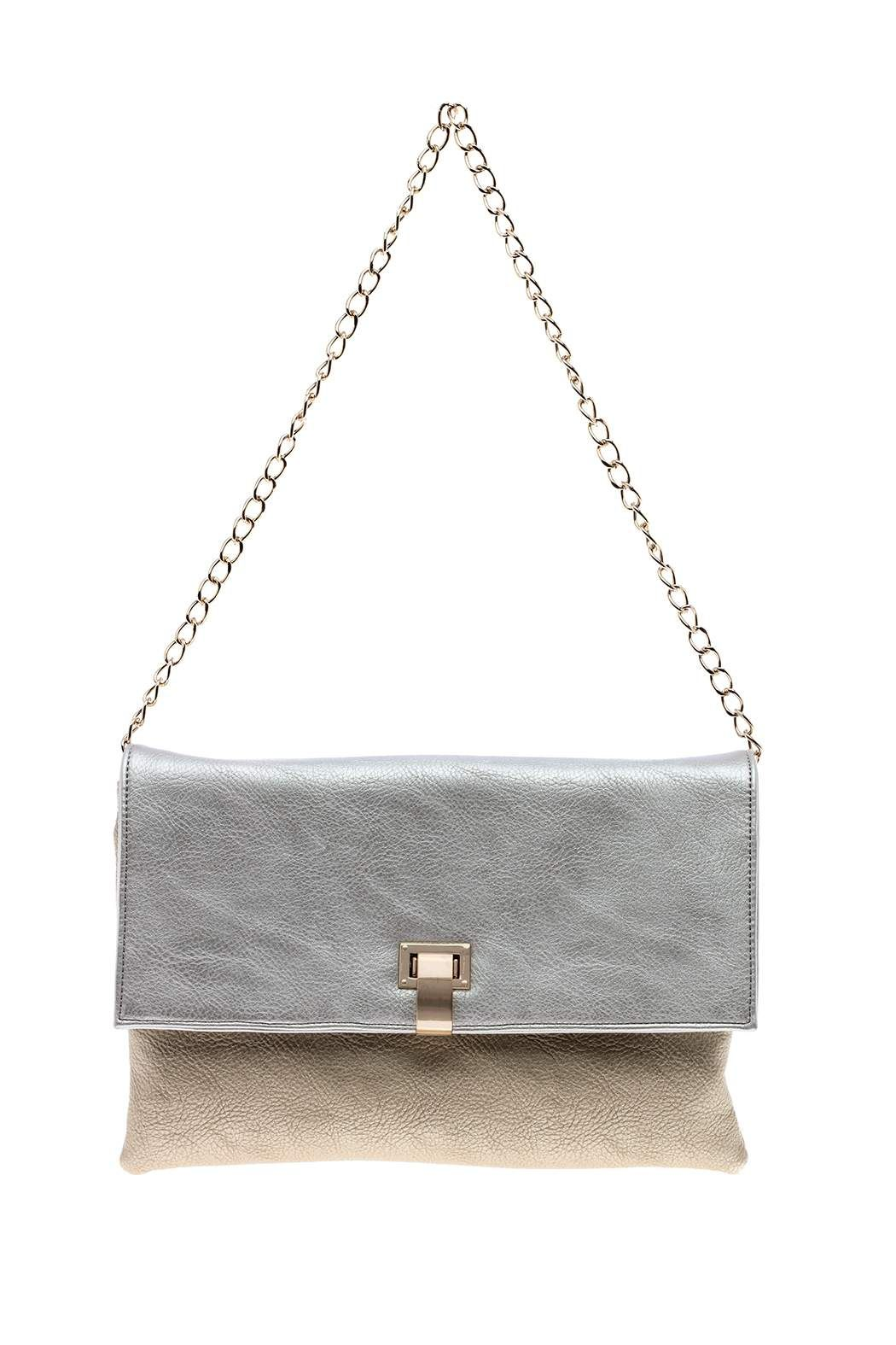 Magnetic Snap On Lined Interior Zip Pocket And Two Slip Pockets Silver Gold Clutch By Sondra Roberts Bags Clutches Casual New York