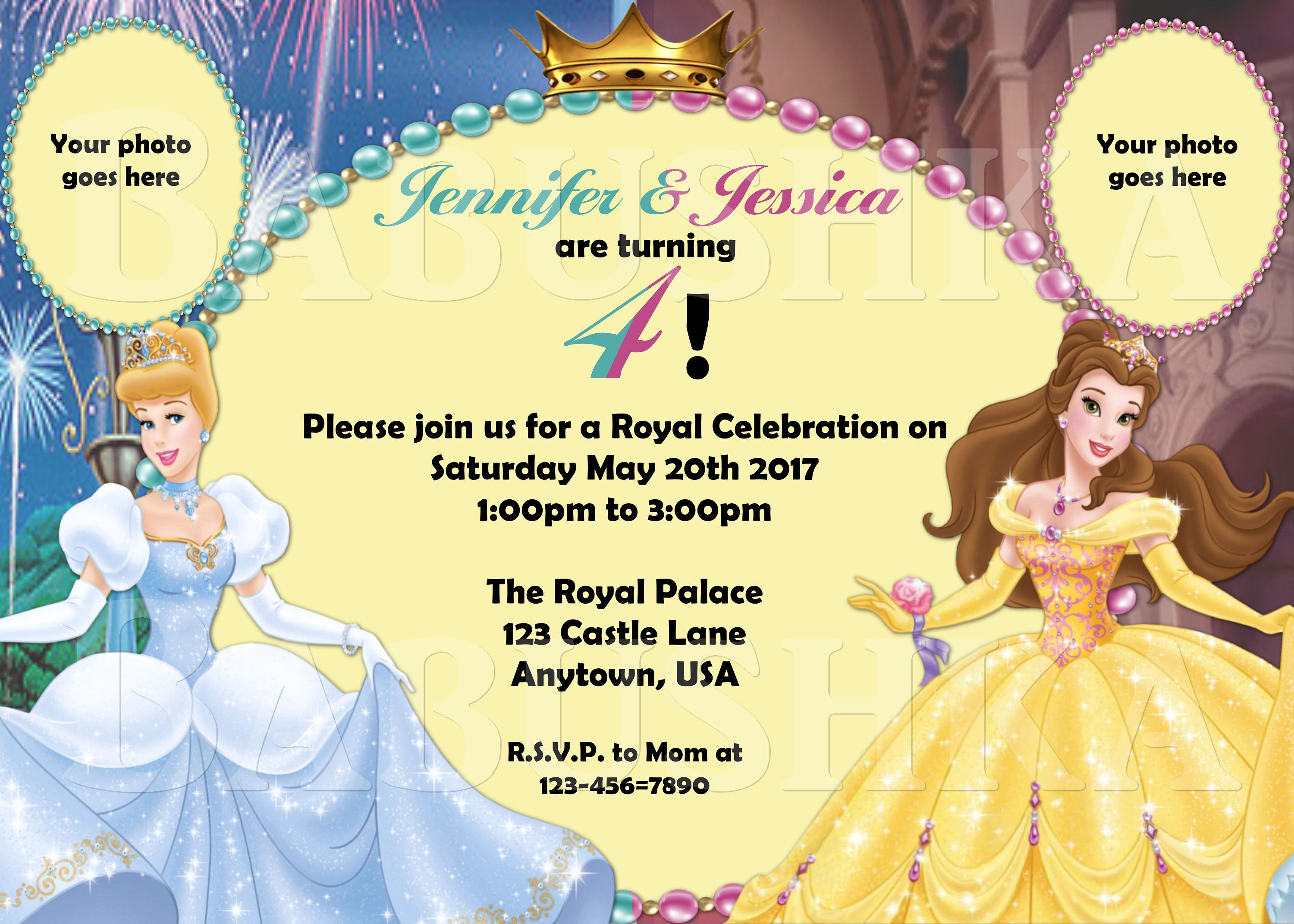 Cinderella and Belle Twins Birthday Party Invitation/ Princess ...
