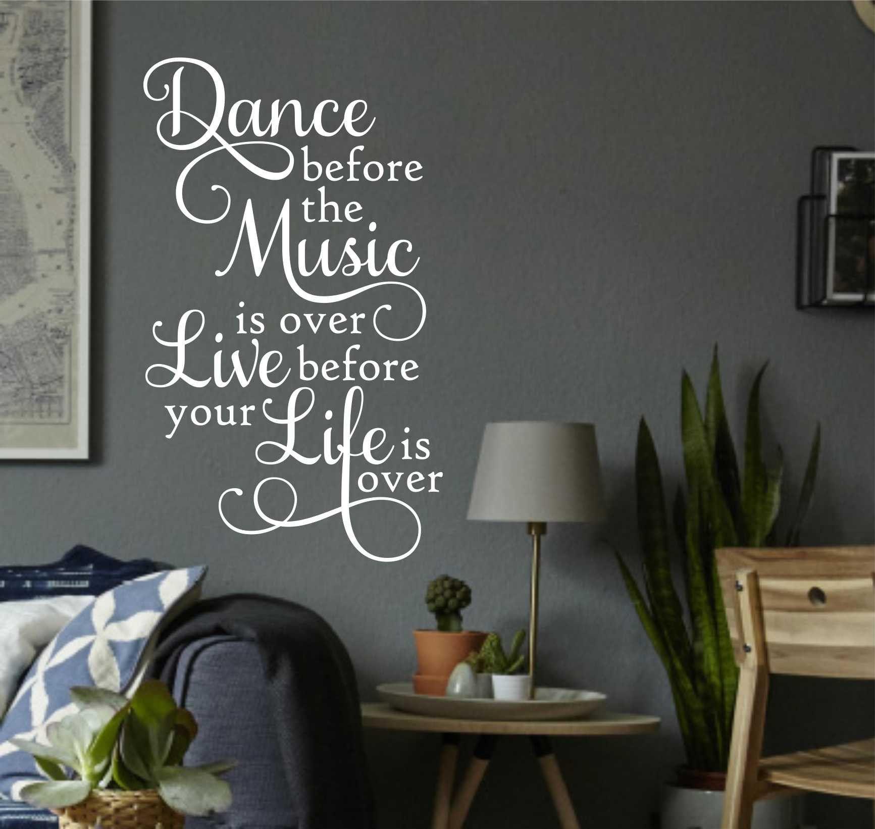 Dance Music Live Life Vinyl Wall Lettering Vinyl Decals - Custom vinyl wall lettering decals