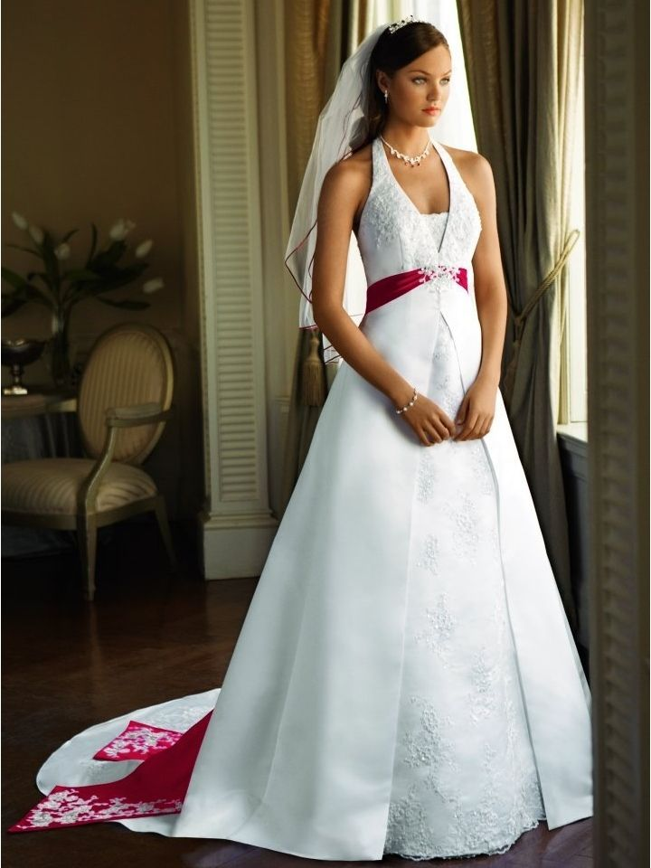 Plus size halter strap red white wedding dresses david for Plus size wedding dresses with straps