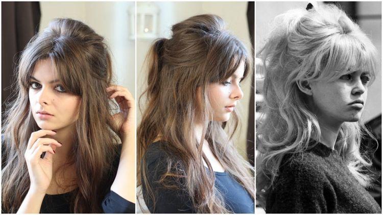 Brigitte Bardot Frisur Halboffen Pony Toupiert Haar Styling Haar Pony Frisuren Langhaar