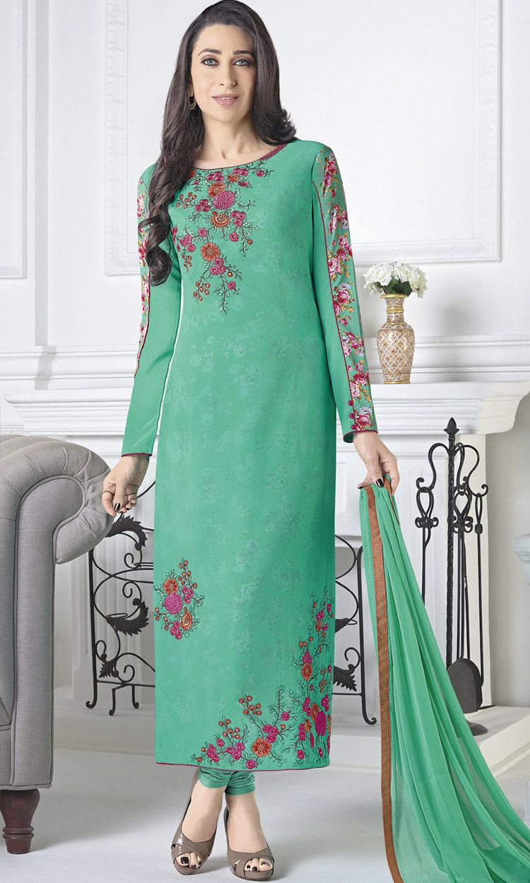 a970d8b8d5 Karishma Kapoor In Sky Green Faux Georgette Straight Cut Suit  #longsalwarkameez #salwar#kameez #onlinesalwarkameez #onlinesuits  #indiandress #dress #sale ...