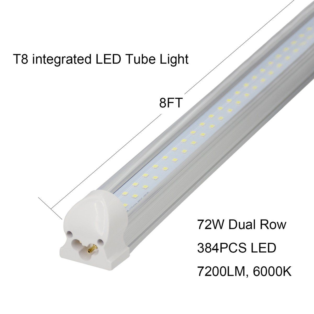 Jesled 8ft Led Tube Light Bulbs 72w 7200lm 150w Fluorescent Replacement 6000k Cool White Glow Dual Row Integrated 8 F Led Tube Light Tube Light Led Shop Lights