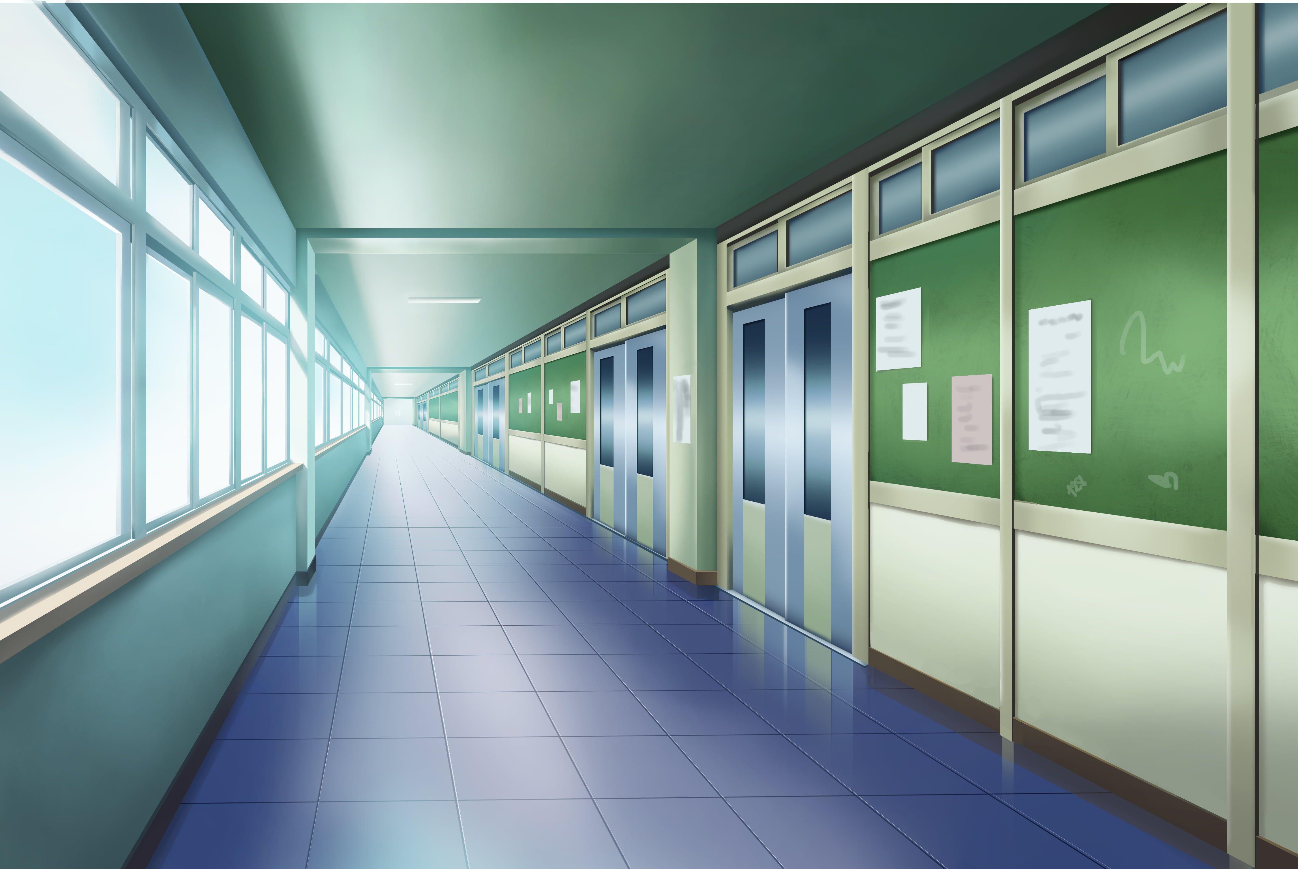 HD wallpaper: Anime, Original, Hallway, School