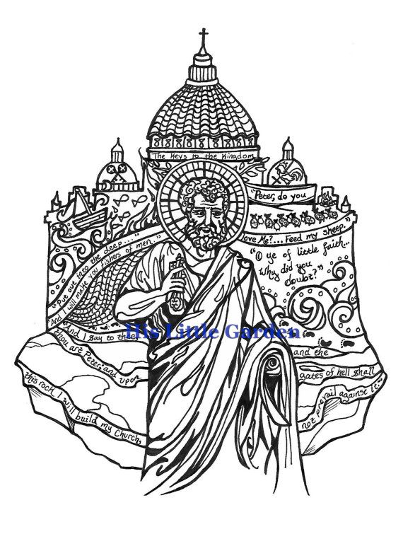ST. PETER the Apostle / First Pope Catholic Adult Coloring Page