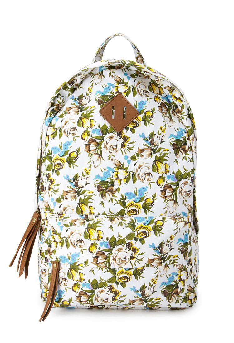 2b90d5118 Fantasy Floral Canvas Backpack   FOREVER21 #Accessories #Floral I have this  and I love it, but its smaller than i thought it would be.
