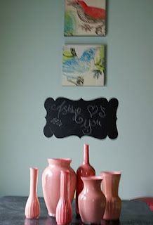 painted clear vases from the inside out, simple and fun use of color <3