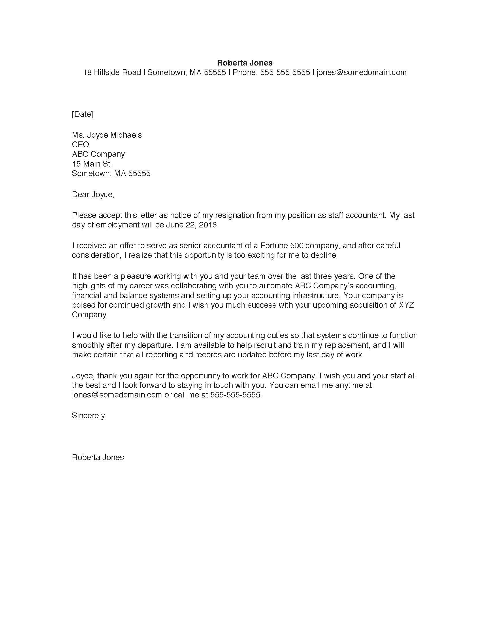 Sample Resignation Letter  Resignation Letter Letter Sample And