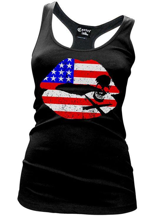 """Women's """"Kiss of Death Flag"""" Racerback Tank by Cartel Ink (Black)"""