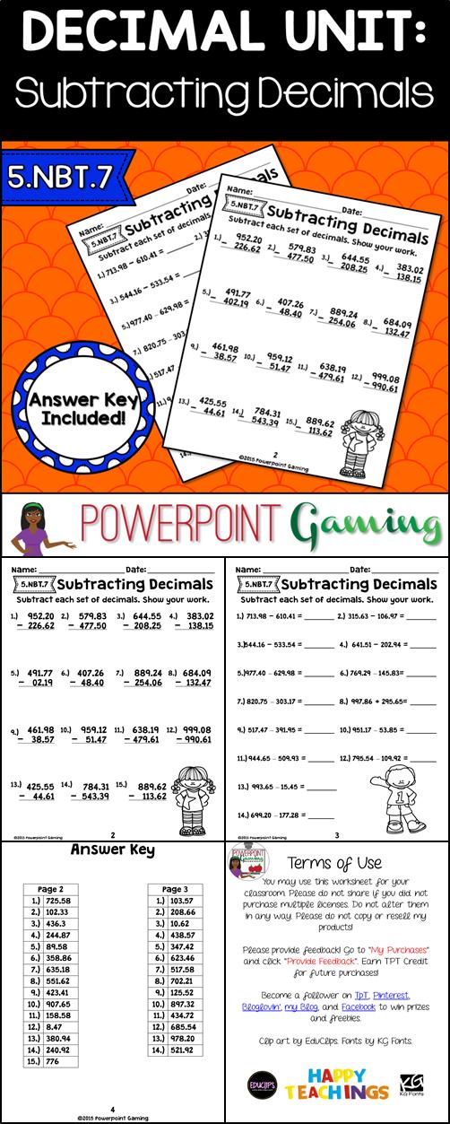 Subtracting Decimals Worksheets Subtracting decimals
