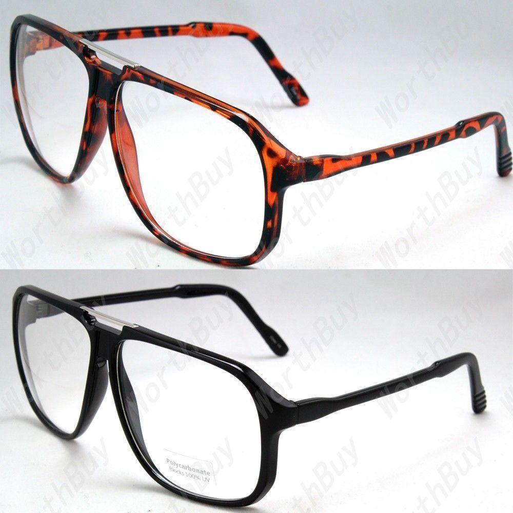 New Large Oversized Retro Vintage Clear Lens Glasses Frame Fashion Nerd Geek 80s Glasses Specs For Men Mens Frames