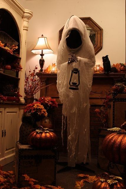 skeleton ghost decoration for 2015 halloween lantern cheesecloth most creepy creative halloween ghost decoration ideas that you will like 2015 by - Creative Halloween Decorating Ideas
