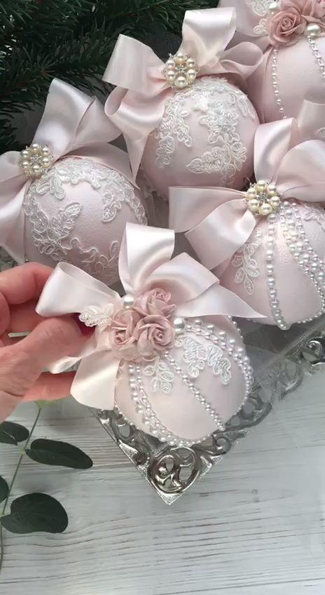 Christmas Ornaments Set of 6 Elegant Christmas Ornaments Lace Blush Pink Christmas Ornament Handmade Pearls Shabby Chic Christmas Tree Ideas #christmas #ornaments #elegant #shabbychicchristmas