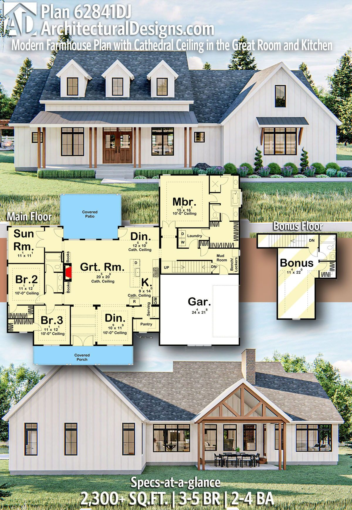 Plan 62841dj Modern Farmhouse Plan With Cathedral Ceiling In The Great Room And Kitchen Modern Farmhouse Plans House Plans Farmhouse Farmhouse Plans