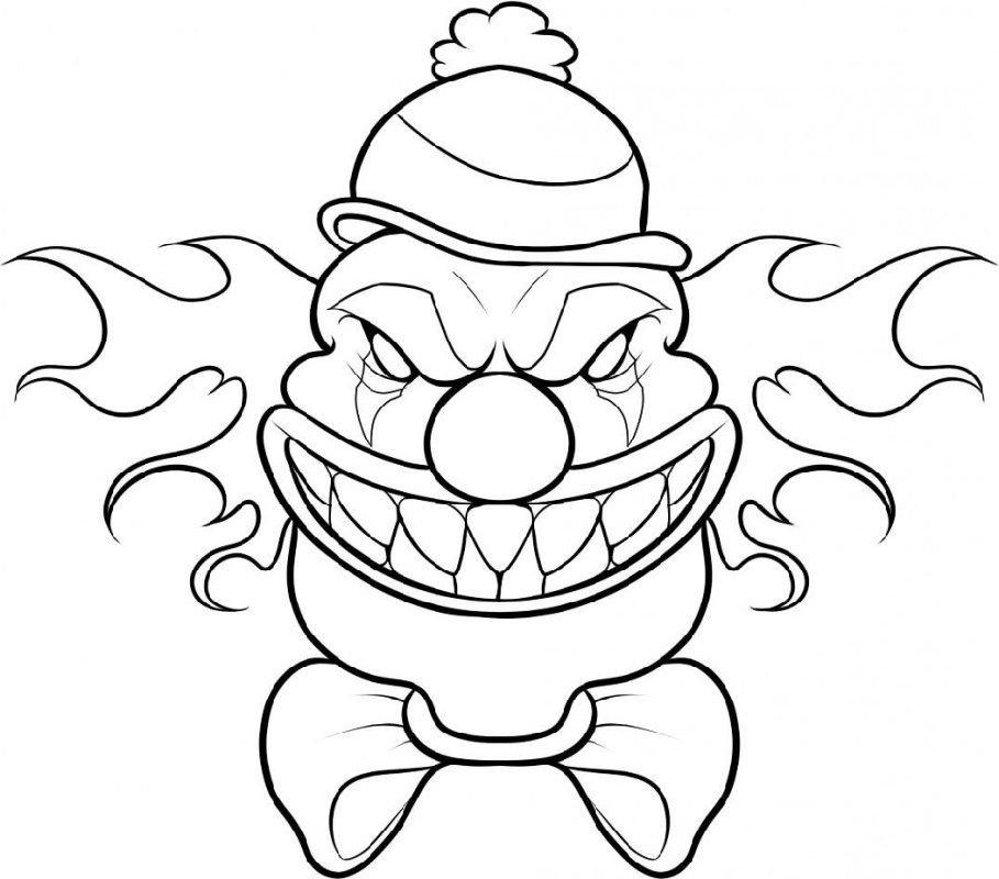 Scary Clown Coloring Pages Free Halloween Drawings Scary Clown