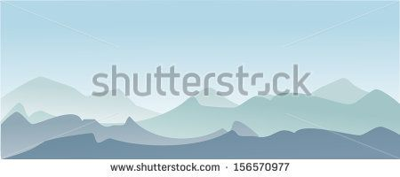 Illustration of a beautiful mountain peaks panorama over the blue sky