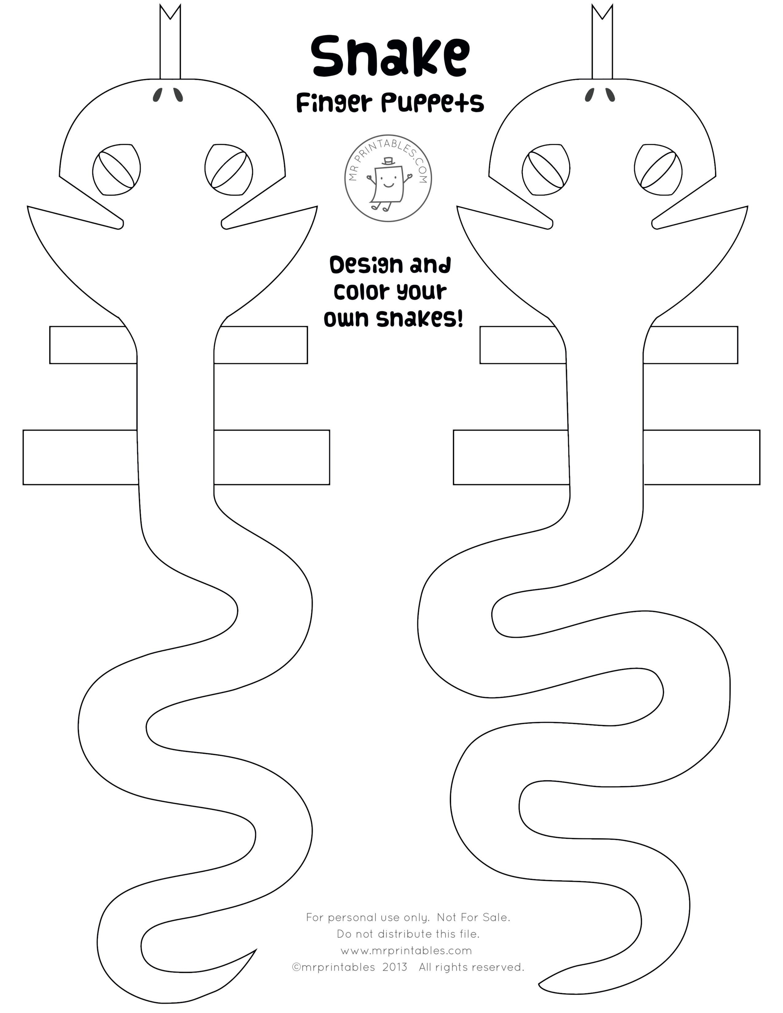 Printable Snake Finger Puppets Snake Crafts Finger Puppets