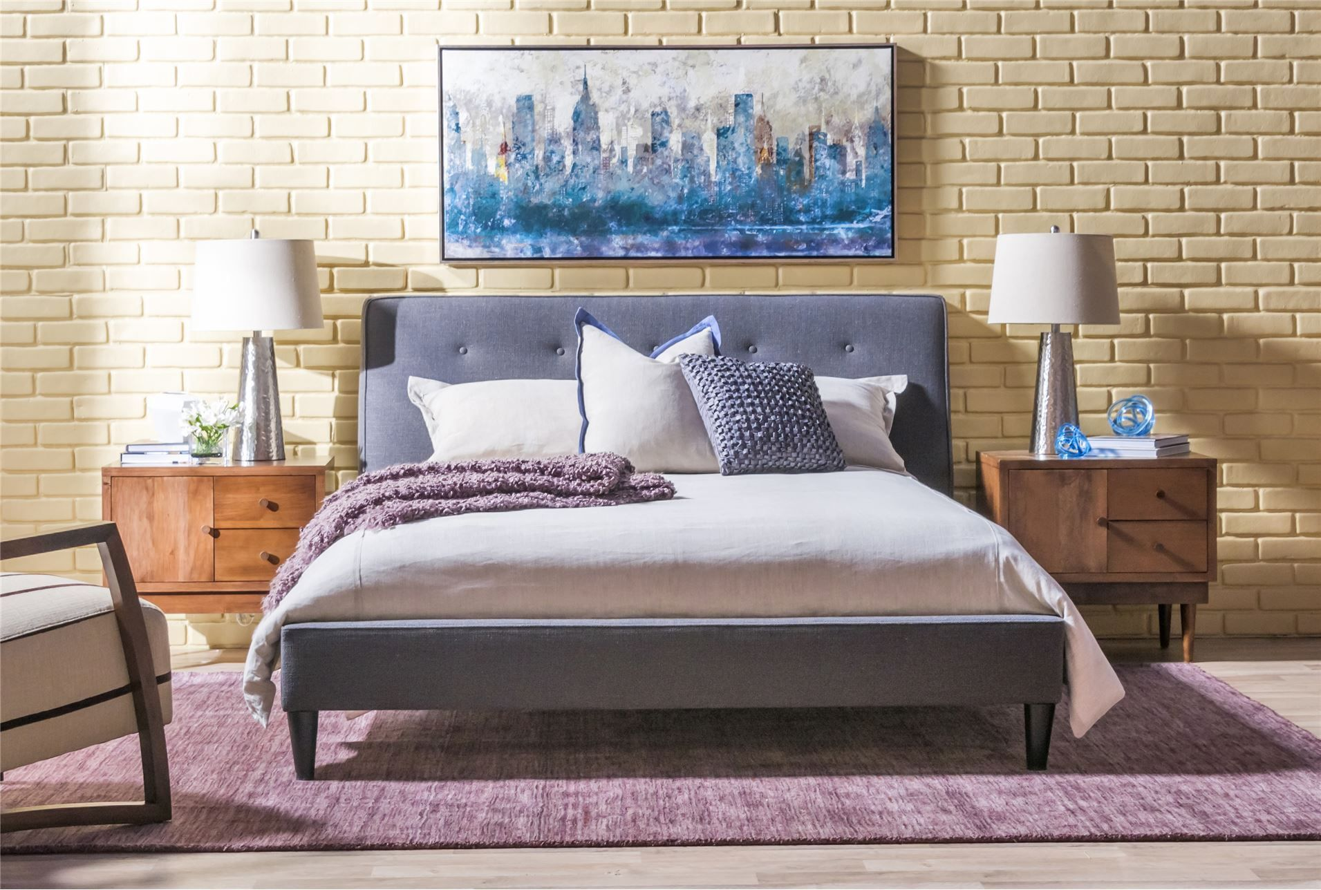 Channing Queen Upholstered Panel Bed From Living Spaces. Really Like The  Retro Feel Of This