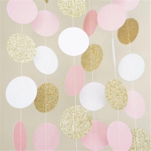 3 Metre Glitter Bunting Banner Pembe Beyaz Altın Çember Puanl Kağıt Garland Banner 10FT Banner Düğün Doğum Günü Dekorasyon #21stbirthdaydecorations