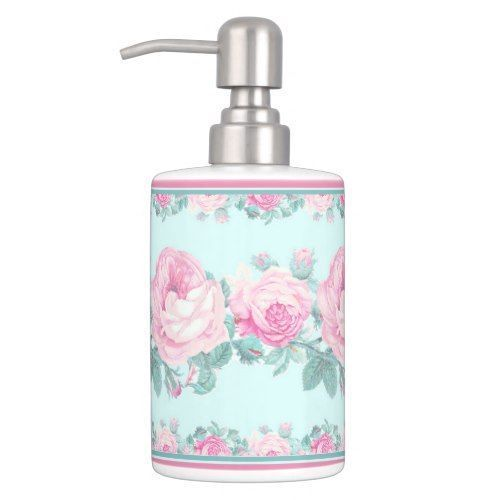 Mint pink rose floral shabby chic bathroom set Shabby Chic Pink