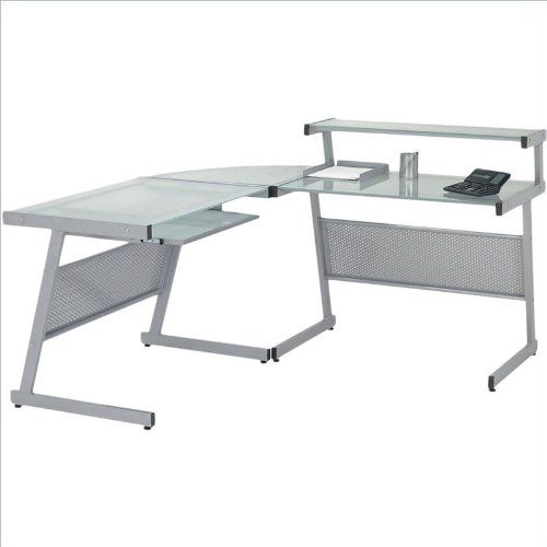 eurostyle landon lshape glass top computer desk graphic black with smoked glass euro - Glass Top Computer Desk