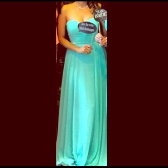 6a5a3007b2 Tiffany Blue Formal strapless gown.