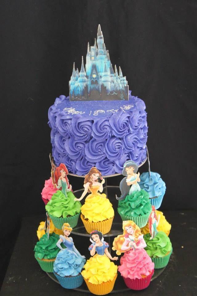 disney princess birthday cake with cupcakes