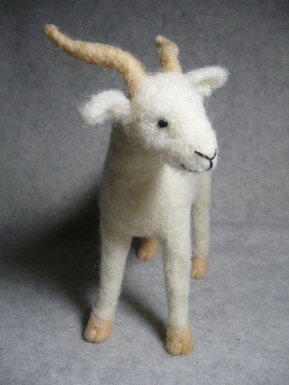 Little White Goat Needle Felted One of a KInd by stoneturtle