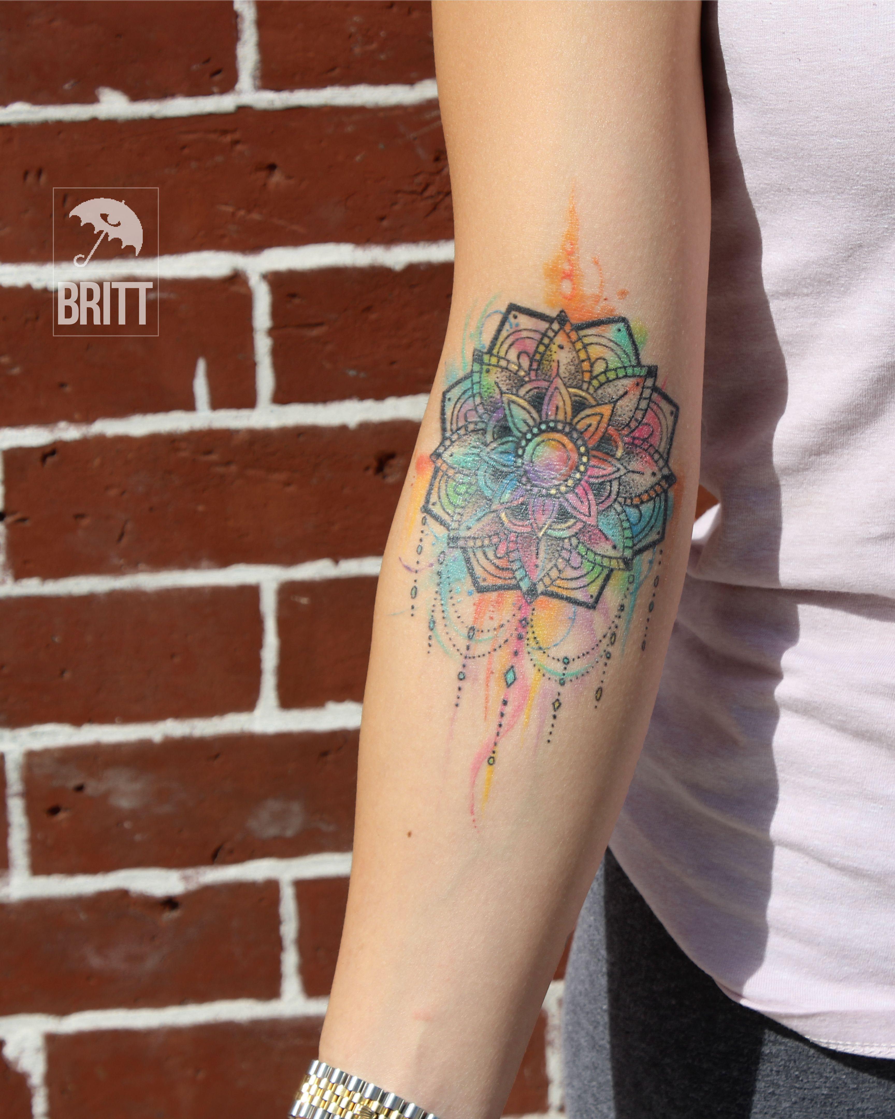 Mandala Colorful Tattoo Watercolor Colorful Brooklyn