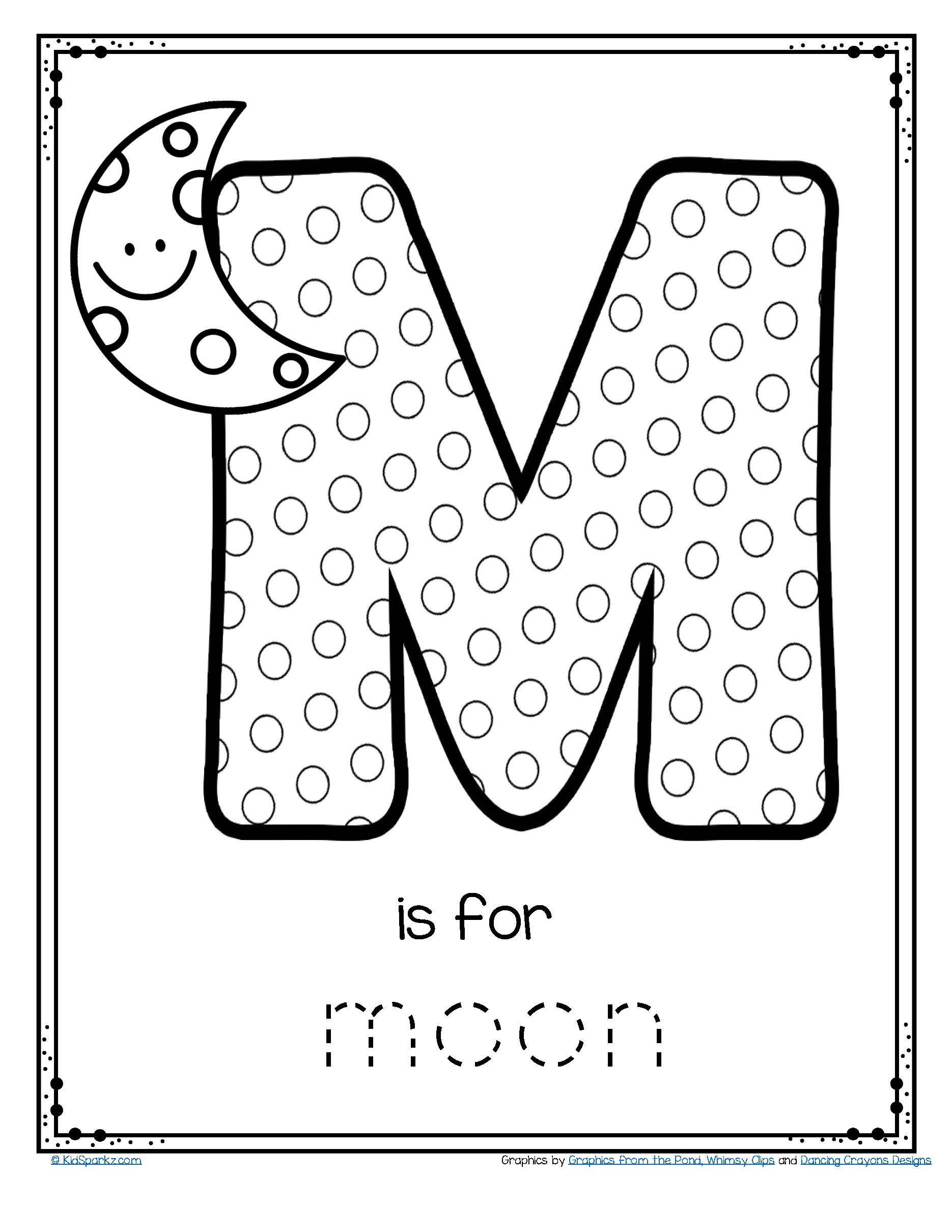 Free M Is For Moon Alphabet Letter Printable Alphabet Preschoolfree Pr Letter Worksheets For Preschool Preschool Worksheets Kindergarten Reading Worksheets