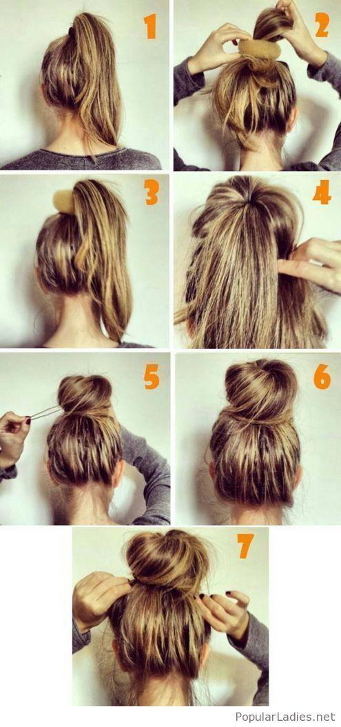 Simple High Bun Tutorial Inspiration Hair Styles Hair Bun Tutorial Hair Hacks