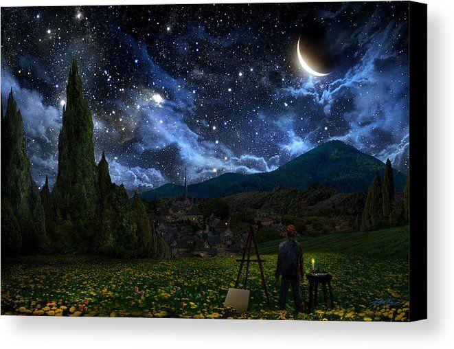 Van Gogh Canvas Print featuring the digital art Starry Night by Alex Ruiz