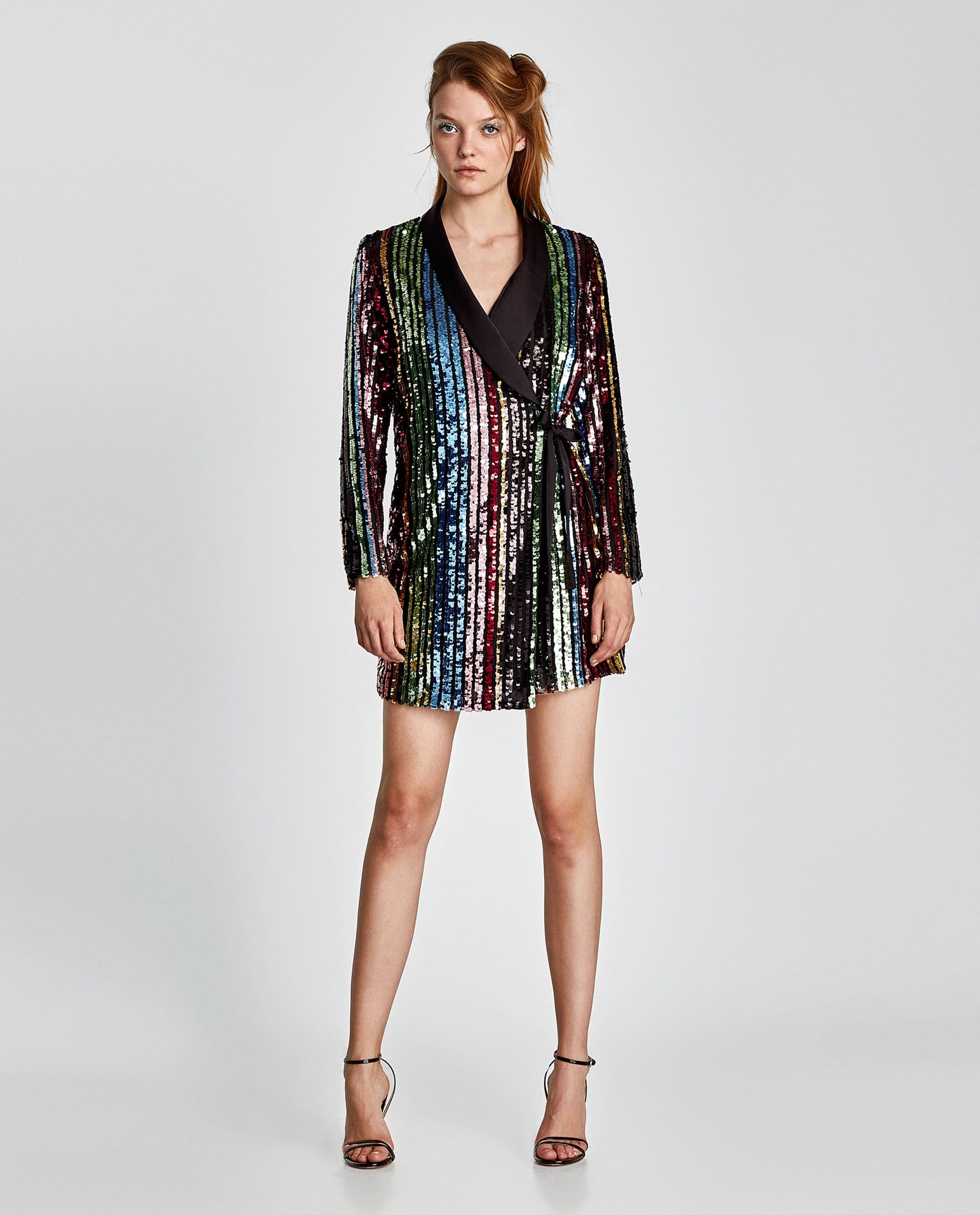 0eed3d5b6d18f ZARA - WOMAN - MULTICOLORED SEQUIN WRAP DRESS